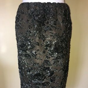 Gilmar Black Metallic Floral Pencil Skirt Italy